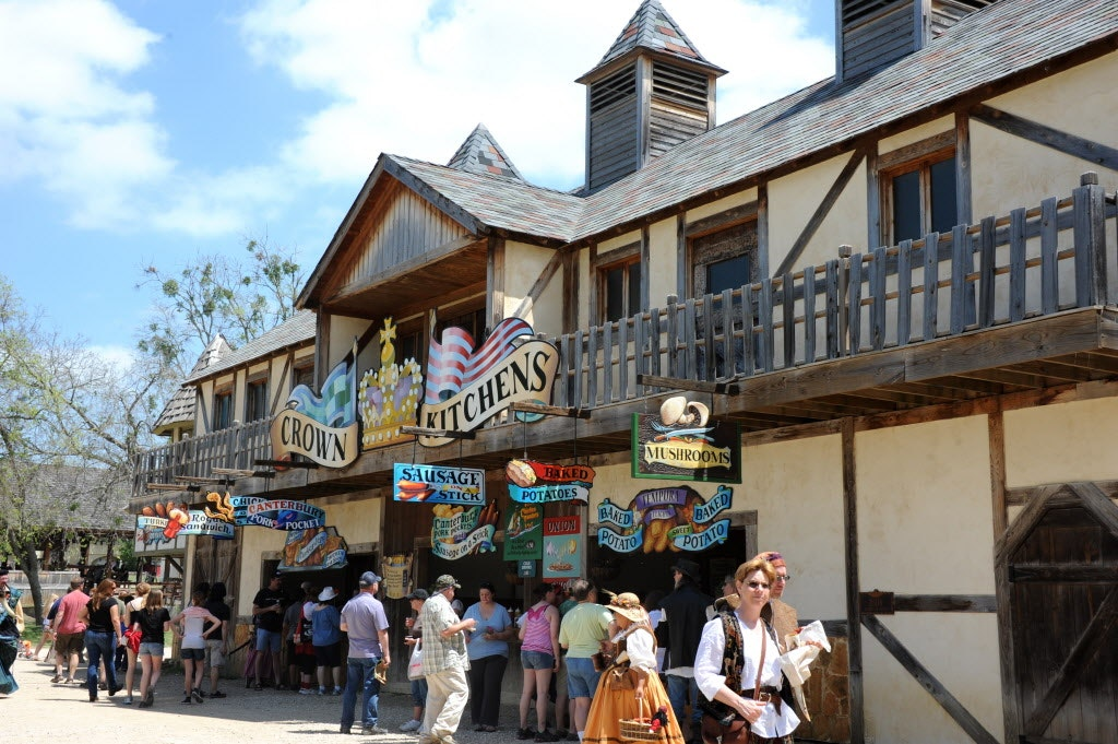 At the Crown Kitchens hungry peasants can buy chicken on a stick, turkey legs, and other delicious grub at Scarborough Renaissance Festival in Waxahachie, TX on April 14, 2013.