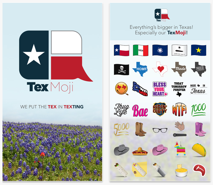 Texas emojis, including taco, cowboy boots, and state flag, are