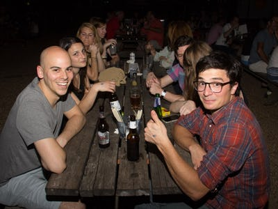 Groups Of Friends Gathered At The Foundry To Catch 80s Music Big Wheel