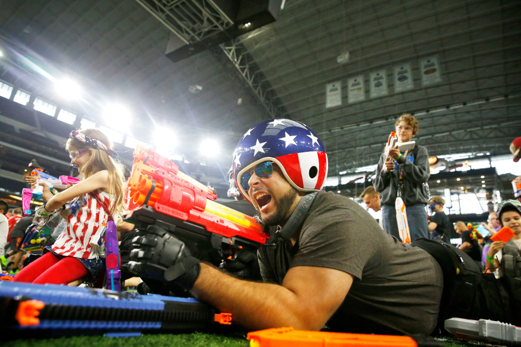 Video Scenes from an epic Nerf battle on the 50yard line of the