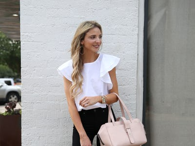 de2d23b003a Pretty in pink  Dallas fashion blogger Dani Austin adds touches of soft  pinks to this